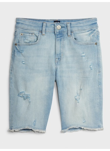 Gap High-Rise Distressed Denim Şort Mavi
